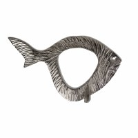 """20"""" Silver Fish With Open Center Metal Plaque"""