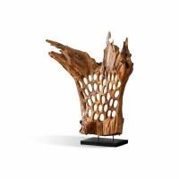 "40"" Natural Teak Abstract Sculpture"