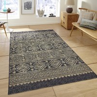 5' x 8' Black and Brown Tribal Rug
