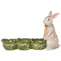 "16"" Ceramic Gray Bunny With 3 Compartments"