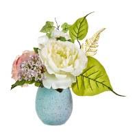 """11"""" Flowers In Blue Egg Shaped Vase"""