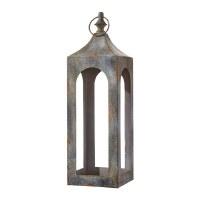 """21"""" Antique Gray Metal Lantern"""