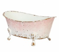 "7"" Antique White and Pink Finish Metal Bath Tub"