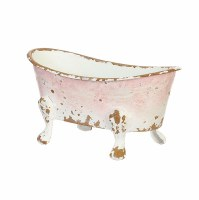 Small Antique White and Pink Finish Metal Bath Tub