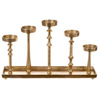 "21"" Gold Metal Tray With 5 Pillar Candle Holders"
