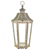 """34"""" Natural and Antique White Finish Hex Lantern"""
