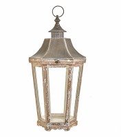 """27"""" Natural and Antique White Finish Hex Lantern"""