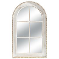 "47"" x 30"" White Washed Arch Beaded Rim Mirror"