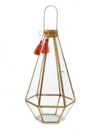 "15"" Brass and Glass Hex Lantern With Tassel"