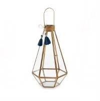 "12"" Brass and Glass Hex Lantern With Tassel"