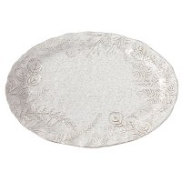 """13"""" x 17"""" Gray Oval With Leaves Platter"""