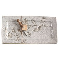 """8"""" x 15"""" Gray Rectangle With Leaves Platter and Spreader"""