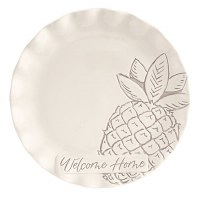 """14"""" Round White Welcome Home With Pineapple Tray"""