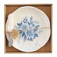 "8"" Round Blue Floral Platter With Spreader"