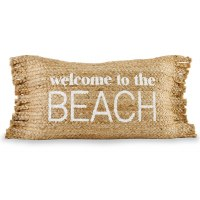 """12"""" x 24"""" Welcome To The Beach Jute Pillow"""
