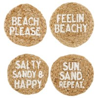 "Set of 4, 4"" Round Beach Jute Coasters"