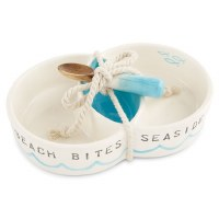 """8"""" Blue and White 3 Compartment Beach Dish With Wooden Spoon"""