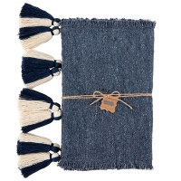 "90"" Navy Runner With Navy and White Tassels"