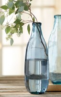 """16"""" Gray and Blue Glass Vase"""