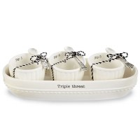 """11"""" White Cracker Tray With 3 Bowls and 3 Spoons"""