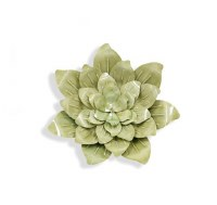 Small Round Green Succulent Metal Wall Plaque
