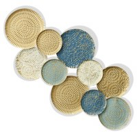 """47"""" Blue, Gold and Turquoise Metal Wall Plaque"""