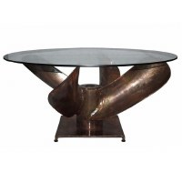 "35"" Round Antique Bonze Propeller Coffee Table"