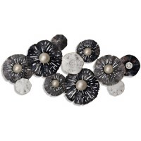 """46"""" Dark Gray, White and Chrome Disks Metal Wall Plaque"""