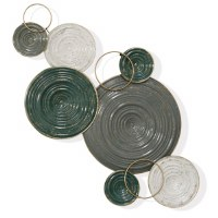 """34"""" Gray, Green, White and Gold Disks Metal Wall Plaque"""