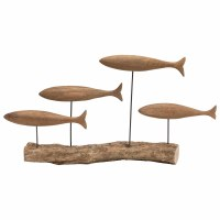 """22"""" 4 Brown Wooden Fish On Log"""