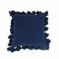 """18"""" Square Navy Pillow With Tassels"""