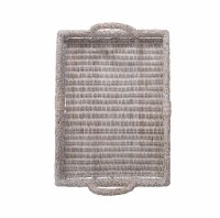 "26"" x 19"" White Washed Rattan Tray"