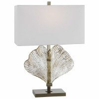 "27"" Clear and Gold Ginkgo Glass Table Lamp"