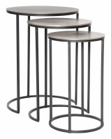 "Set of 3, 17"" Round Silver and Black Stacking Tables"