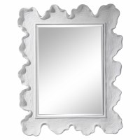 "34"" x 27"" White Faux Coral Framed Mirror"