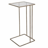 "12"" Square Antique Gold Finish With Glass C Shaped Table"