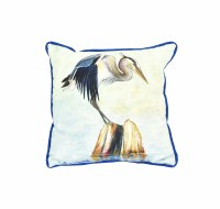 "12"" Square Balancing Heron Pillow"