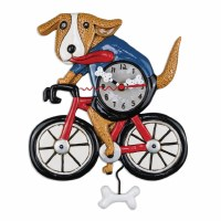 "19"" Dog On Bicycle Wall Clock"