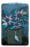 """4"""" Heron and Floral Design Compact Mirror"""