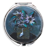 """2.75"""" Heron and Flowers Pill Box"""