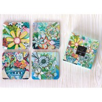 "Set of 4, 4"" Bountiful Blooms Coaster"