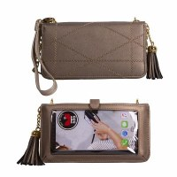 "5"" x 8"" Save The Girls Beautiful Bronze Allure Touch Screen Purse"