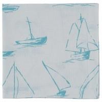 "20"" Square Sky Blue Sailboat On White Napkin"