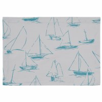 """13"""" x 19"""" Sky Blue Sailboat On White Placemat"""