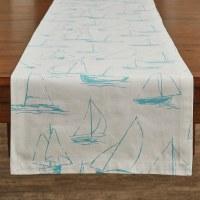 """54"""" x 13"""" Sky Blue Sailboat On White Table Runner"""