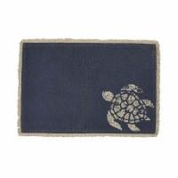 """13"""" x 19"""" Cream Turtle On Dark Blue Placemat"""