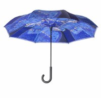 Light Blue Indigo Cats Stick Umbrella