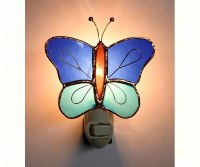 "4.5"" Blue Butterfly Glass Night Light"