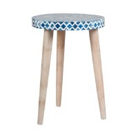 "15"" Round Blue and White Mosaic Top"