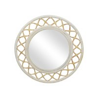 "35"" Round White Washed Natural Rattan Mirror"